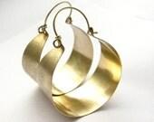 Large Bronze And Gold Filled Hoop Earrings, Big Hoops Mixed Metal Earrings, Metalwork Jewelry, Metalwork Earrings, Statement Hoops
