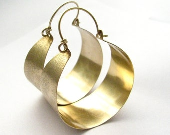 Large Bronze And Gold Filled Hoop Earrings, Big Hoops Mixed Metal Earrings, Metalwork Jewelry, Metalwork Earrings, Statement Hoops