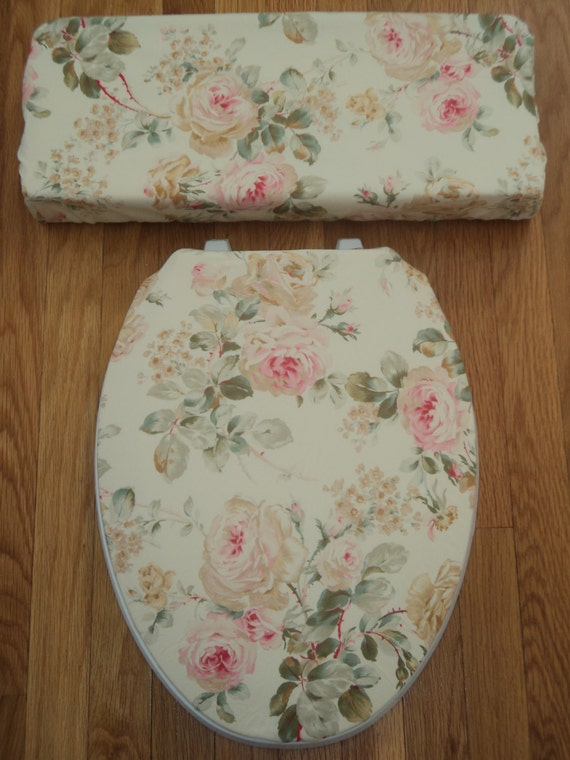 Gold Tan Pink Roses Toilet Seat Cover Set By LoveVanillaRose
