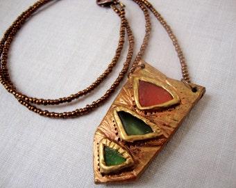 Modern Geometric Orange and Green Seaglass Necklace