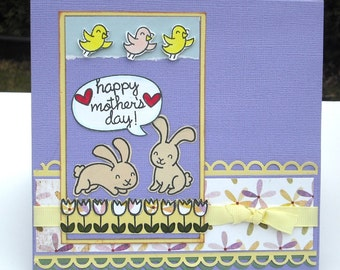 Mother's Day card, Lavender with Tulips and Bunnies, Happy Mother's Day, 6x6 Inches, Card for Mom, Mother, Mum