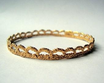 Vintage Lace bangle bracelet cast in bronze with 14k gold plate
