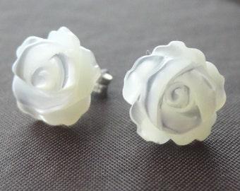 White Flower - Sterling Silver Mother of Pearl Flower Post Stud Children Earrings