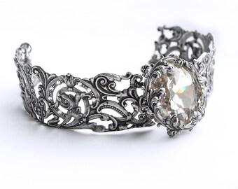 Victorian Gothic Silver Bridal Choker Necklace Swarovski Crystal Choker White Crystal Filigree Wedding Jewelry Statement Metal Choker gift