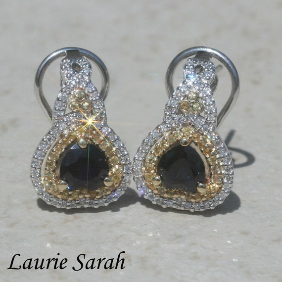 Sapphire Heart Earrings with Yellow Sapphire and Diamond Double Halo - LS1600
