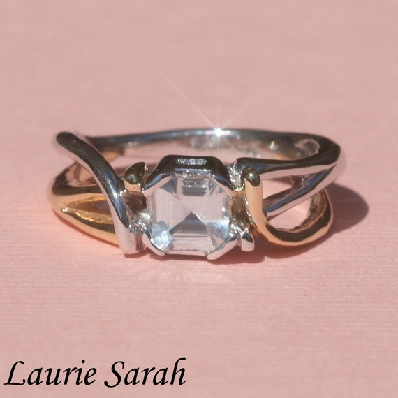 Asscher Cut White Sapphire Ring with Twisted by ...