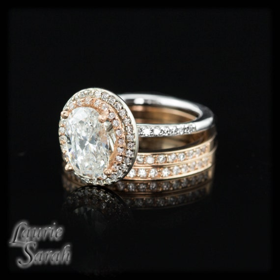 Oval Engagement Ring, Diamond Wedding set in White and Rose Gold - LS1657