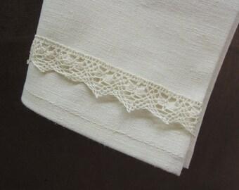 Set of 4 Organic Napkins with Lace, Hemp, Organic Cotton, Ivory, Table Linens