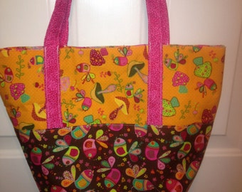 Tote Handbag Purse Whimsical Bright Prints