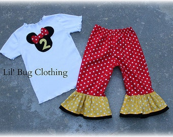 Custom Boutique Clothing Yellow and Red Minnie Mouse Birthday Personalized Tee And Capri Outfit