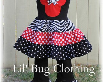 Custom Boutique Clothing Minnie Mouse Zebra and Red  Dots Tiered Halter Top and Knit Pant Girl