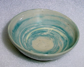 Small Wheel Thrown Blue and Gray Marbled or Agate Pottery Bowl