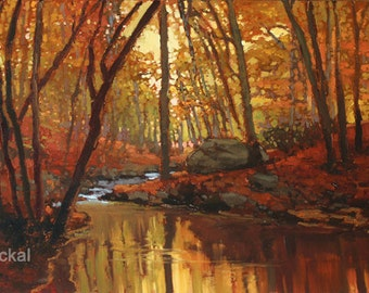 Fall By The Creek - Giclee Fine Art PRINT of Original Painting matted 12x20 by Jan Schmuckal