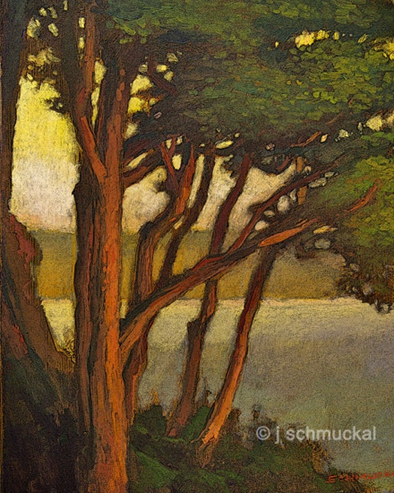 Mission arts and crafts craftsman pine sunset giclee by for Art and craft painting