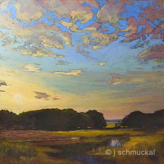 Mission Arts and Crafts CRAFTSMAN Wetland Sunset - Giclee Fine Art PRINT of Original Landscape Painting matted 12x12 by Jan Schmuckal