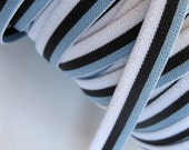 blue, white, and dark brown striped skinny belt elastic, 1/2 inch wide