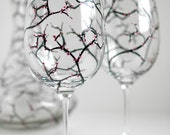 Spring Cherry Blossom Wine Glasses - Set of 2 Hand Painted Glasses - Mothers Day Gift