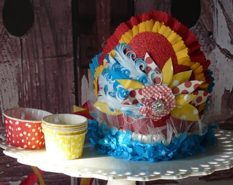 Vintage Circus, Carnival Birthday Party Crown.Feathers, millinery, lace, Red,Turqouise,Yellow, photo prop