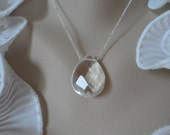 Beautiful Clear Quartz Necklace and Sterling Silver - Mothers Day Gifts, Birthday Gifts and Bridesmaids Gifts, Flower Girls