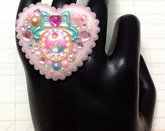Sweet Alice in Wonderland Cameo Kawaii Collage Sparkle Heart Ring