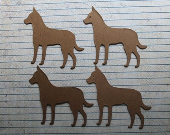 4 Bare chipboard  Dog Diecuts 3 1/8 inches wide