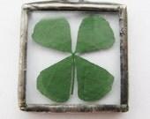 four leaf clover necklace - 4 leaf clover necklace - four leaf clover pendant - flower necklace - flower pendant