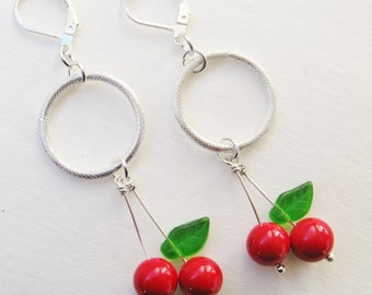 cherry earrings - silver cherry rrings - chain - rockabilly - vintage tattoo - sailor jerry -- polka dot