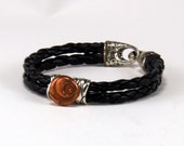 Copper Handcrafted Bead and Leather Bracelet Size L