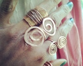 Adjustable infinity Spiral Copper Ring, large avai in brass