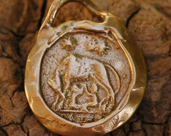 Bronze Romulus and Remus Charm or Small Pendant