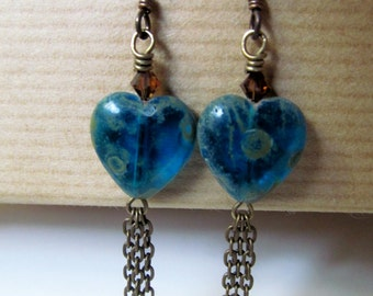 Heart - Teal Blue Glass Hearts and Topaz Swarovski Crystal Niobium Earrings