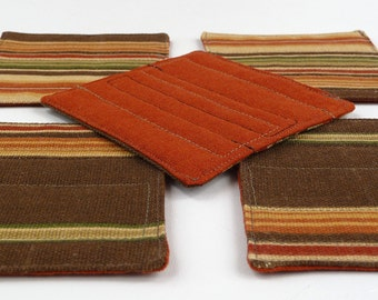 sewn coasters - canvas stripe and rust