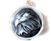 Sterling Silver Wrapped Pendant Eagle Black and White Round Plastic Resin Cameo