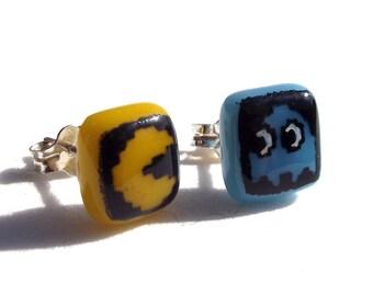 Pacman Earrings Glass Pair Black Enamel Sterling Silver 925
