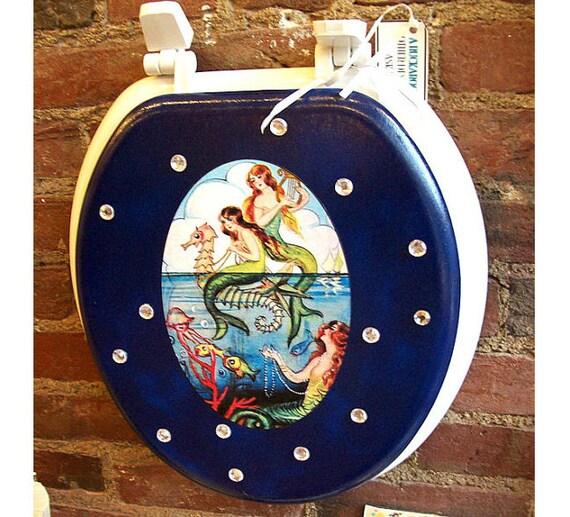 Mermaid toilet seat retro vintage pin up  rockabilly bathroom