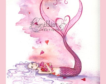 Valentine Mermaid Falling for Love Print from Original Watercolor Painting by Camille Grimshaw