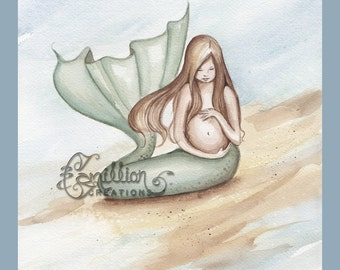 Pregnant Mermaid Print from Original Watercolor Painting by Camille Grimshaw