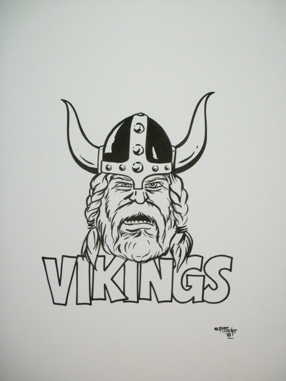 Vikings  Original Pen and Ink Drawing  Vintage Spirit Poster Design  Art for T-Shirts