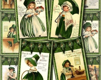 Vintage St Patrick's Day Tags - Digital Collage Sheet -INSTaNT DOWNLoAD-Print Yourself Paper Crafts Original Whimsical Altered Art