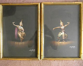 Boonsong . Vintage Pair of Pastel Paintings Drawings . signed