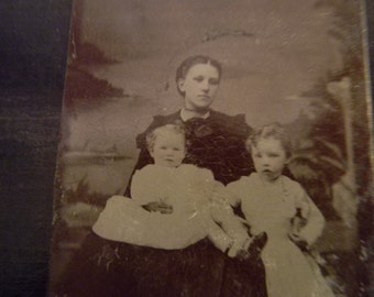Tin Type Photo Picture of Lady with 2 Small Children