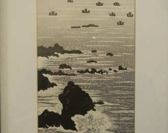 Vintage Ink Drawing . Signed . Rocky Oceanside Scene