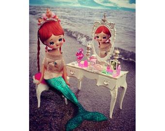 mermaid print 8 x 12 ocean pose doll DEEP SEA DREAMING