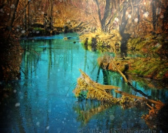Nature Photo, Landscape Photograph, Trees, Stream, Water, Blue, Green, Yellow, Enchanted, Surreal, 5x5 inch Print- A Shift in Time