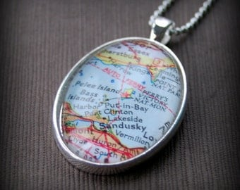 Lake Erie Islands Map Necklace