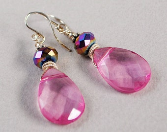 Pink Metal Crystal and Sterling Earrings - Pink Glass Briolette Earrings - Pink Earrings - Happy Shack Designs