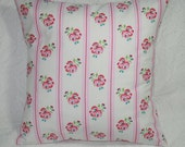 "Retro Flower Stripe Throw Pillow Cover - Tanya Whelan Delilah Posy in Pink Shabby Chic Romantic Cottage - 16""   (**)"