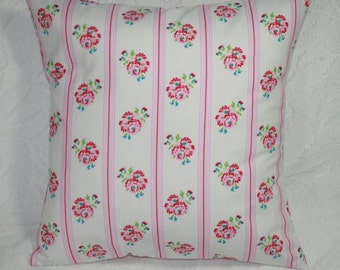 "Retro Flower Stripe Throw Pillow Cover - Tanya Whelan Delilah Posy in Pink Shabby Chic Romantic Cottage - 16""   (**) FREE US SHIPPING"
