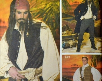 Sewing Pattern Simplicity 4923 Costume Men's Pirate Jack Sparrow Chest 42 to 48 Inches Uncut Complete FF