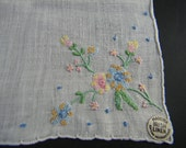 Vintage handkerchief, Irish linen, embroidery and rolled edges - never used